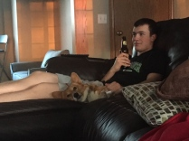 Relaxing with his dog and a ROOT beer